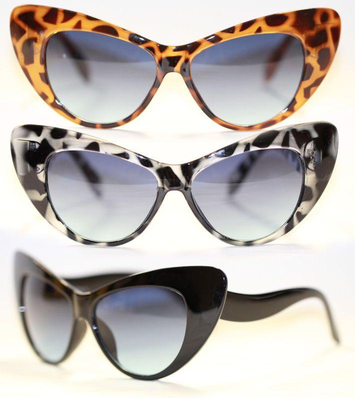 Cateye Sonnenbrille 50er Jahre filigran Übergroß leicht getönt schwarz 588 Ff9zz