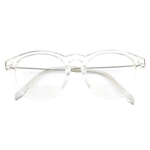 Nerd Brille Nerdbrille ohne Stärke Retro Klar durchsichtige Linsen Herren Damen