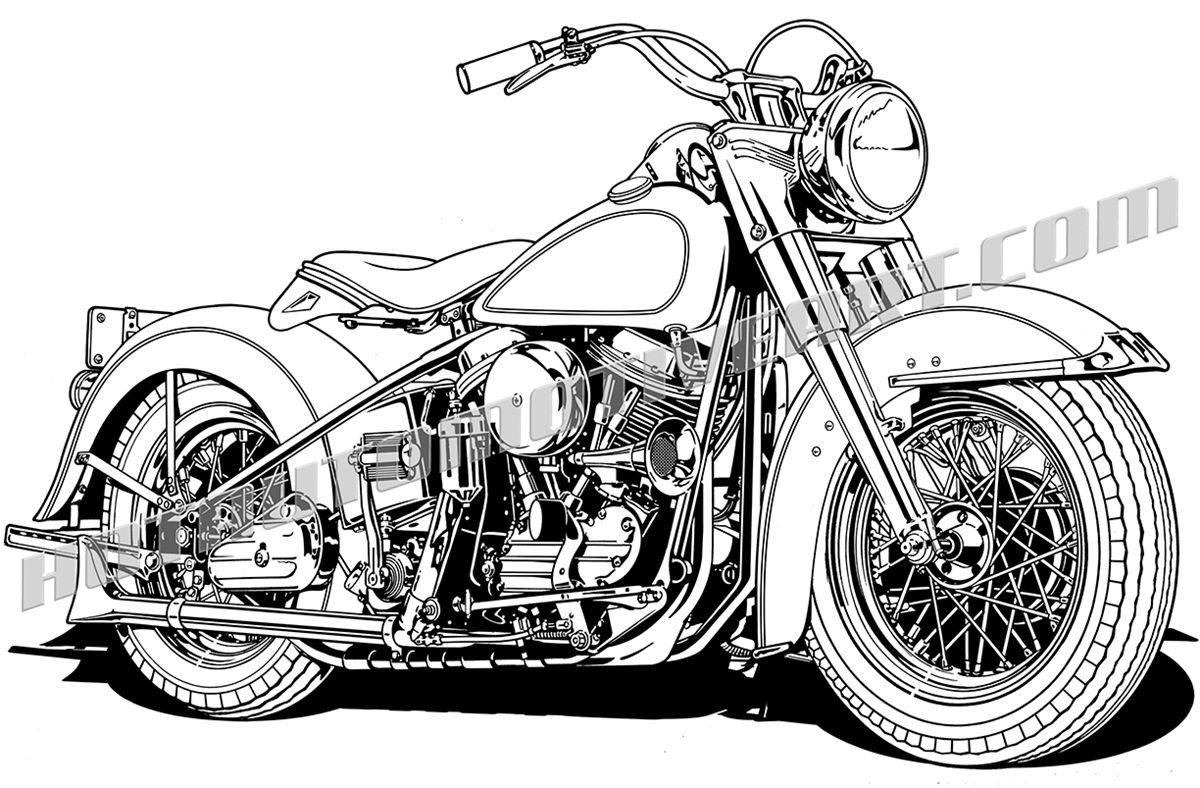 Vintage Motorcycle 3 4 View