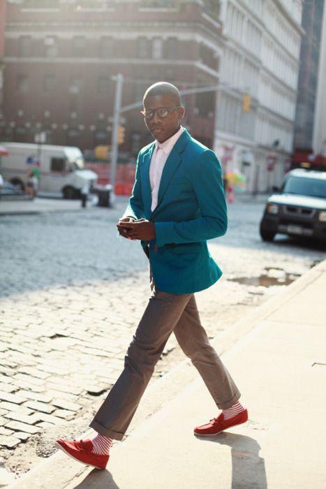 Blue jacket red shoes red striped socks streetstyle men | MEN ...