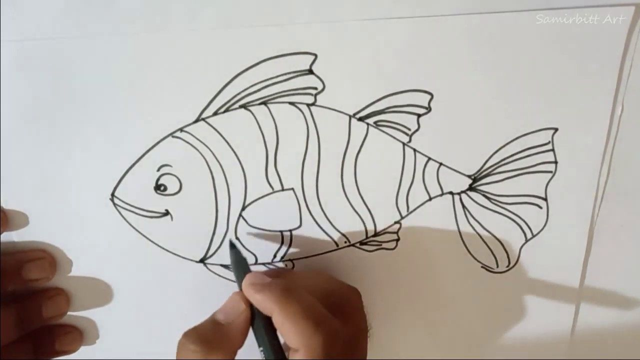 How To Draw A Fish Easy Step By Step Fish Drawings Fish Drawing Outline Drawings