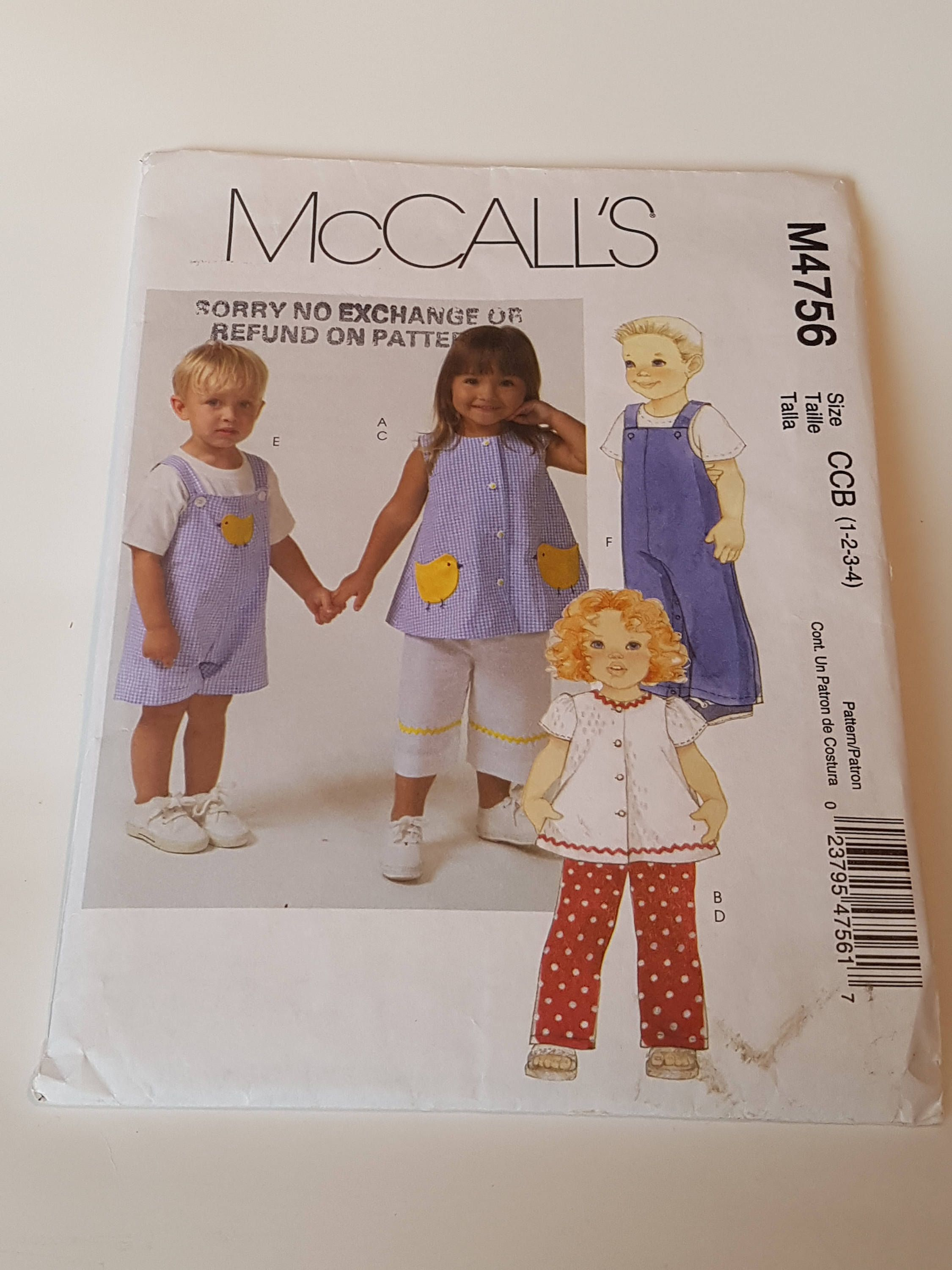 Mccalls sewing pattern m4756 toddlers tops pants and jumpsuit mccalls sewing pattern m4756 toddlers tops pants and jumpsuit in 2 lengths in size jeuxipadfo Choice Image