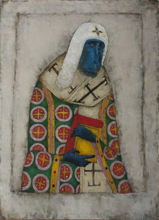 "Saatchi Online Artist: Sergey Dyomin Sergejs Djomins; Oil, 2013, Painting ""Blue Monkey"""