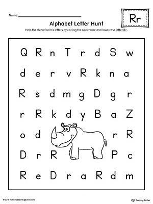 Alphabet Letter Hunt: Letter R Worksheet | Hunt's, Student and Reading