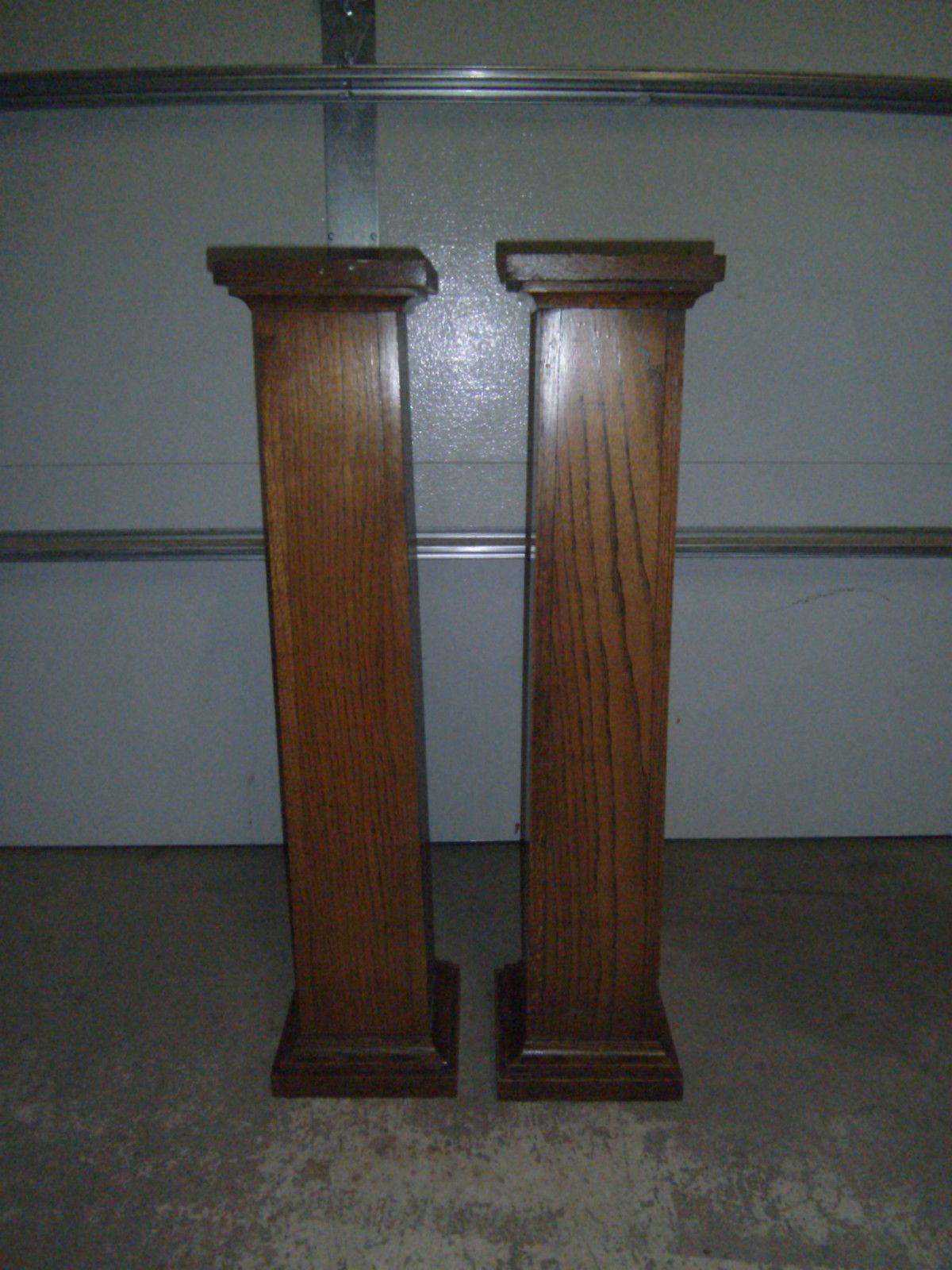 Mission arts crafts oak architectural pair pillars set 2 for Craftsman columns