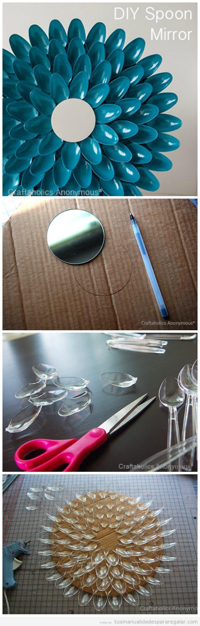 Regalos hechos a mano espejo decorado con cucharas de pl stico crafts pinterest cucharas - Espejo de plastico ...