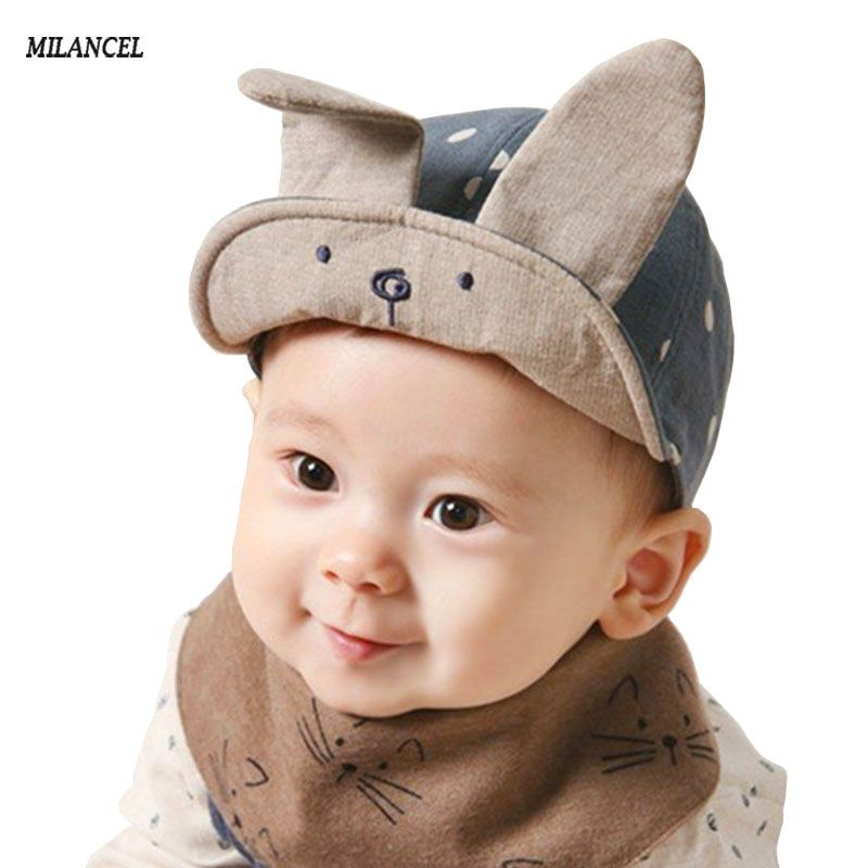 b36c16a268e 2017 New Arrival Spring Baby Hats Cute Bunny Ear Design Babby Peaked Cap  Summer Baby Boy Hat Newborn Photography Props 3-18M  Affiliate