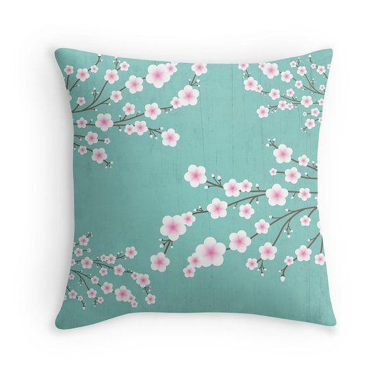 Cherry Blossom Pillow Covers, Sakura Cushion Covers, Turquoise ...