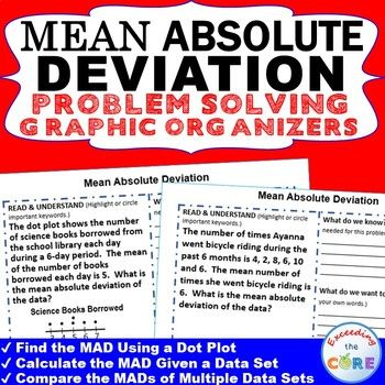 Get your students successfully understanding and solving MEAN ABSOLUTE DEVIATION word problems with these PROBLEM SOLVING GRAPHIC ORGANIZERS. Topics Covered: ✔Find the Mean Absolute Deviation Using a Dot Plot ✔Calculate the Mean Absolute Deviation Given a Data Set ✔Compare the Mean Absolute Deviation of Multiple Data Sets  Perfect for test prep, warm-ups, math centers and math homework.  6th grade math common core 6.SP.5