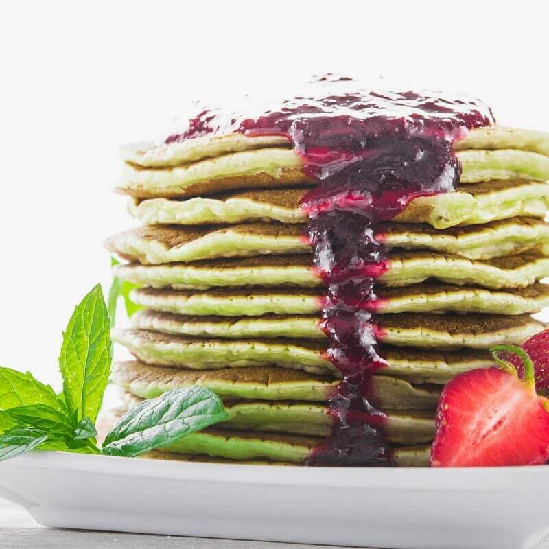 Chia matcha pancakes with strawberry maple coulis recipe