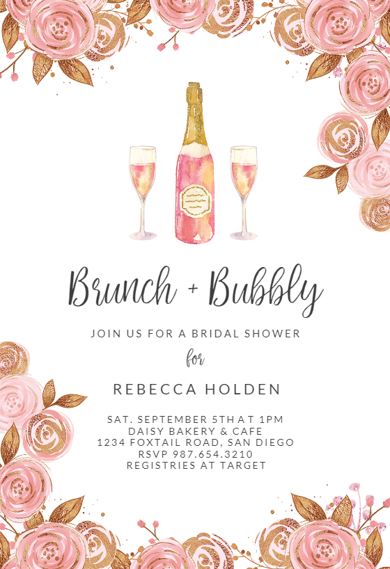 Brunch Bubbly Bridal Shower Invitation Template Greetings Island Printed Bridal Shower Invitations Bridal Shower Invitations Templates Party Invite Template