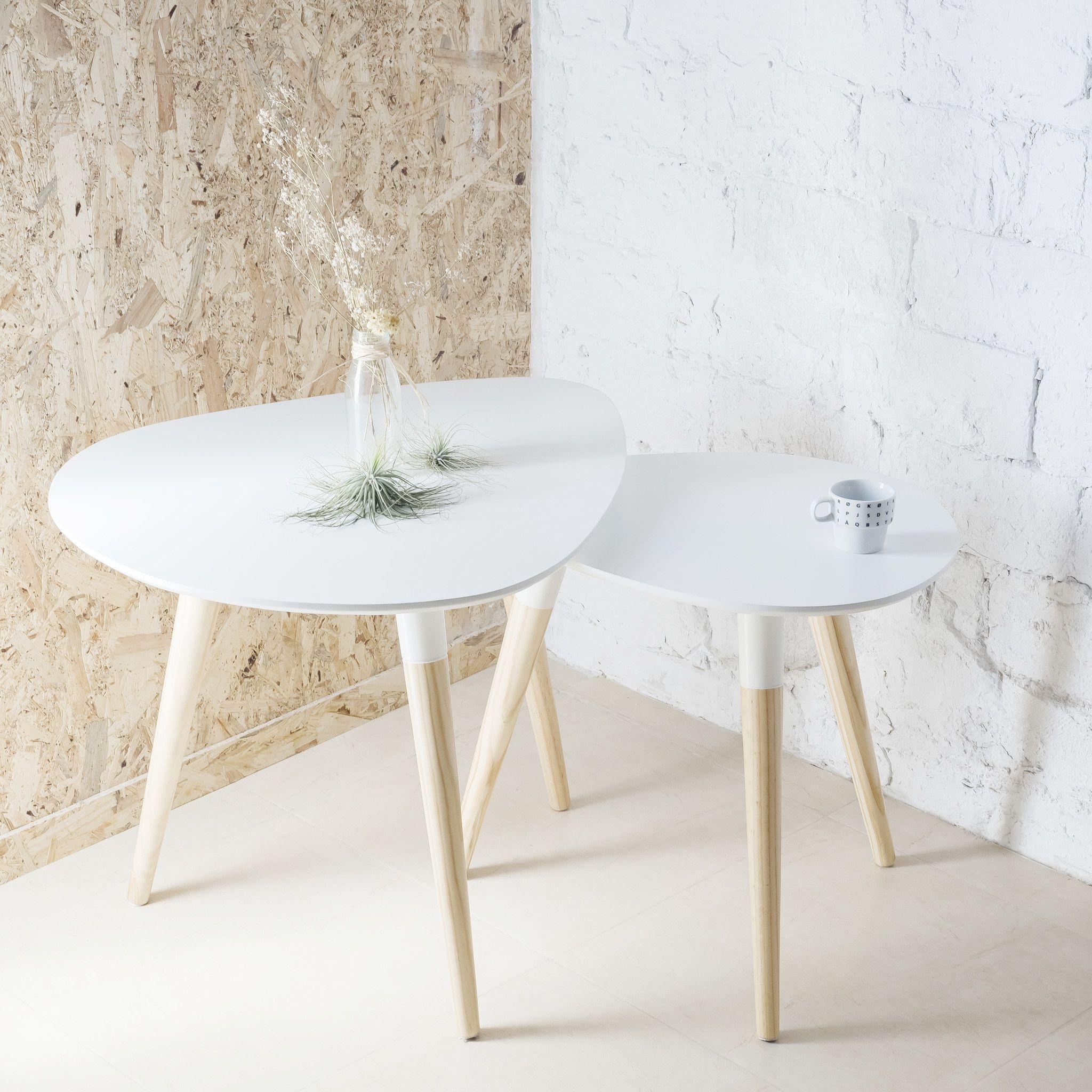 Conjunto 2 mesas aimer dise o n rdico pino y nidos for Mesa auxiliar estilo nordico