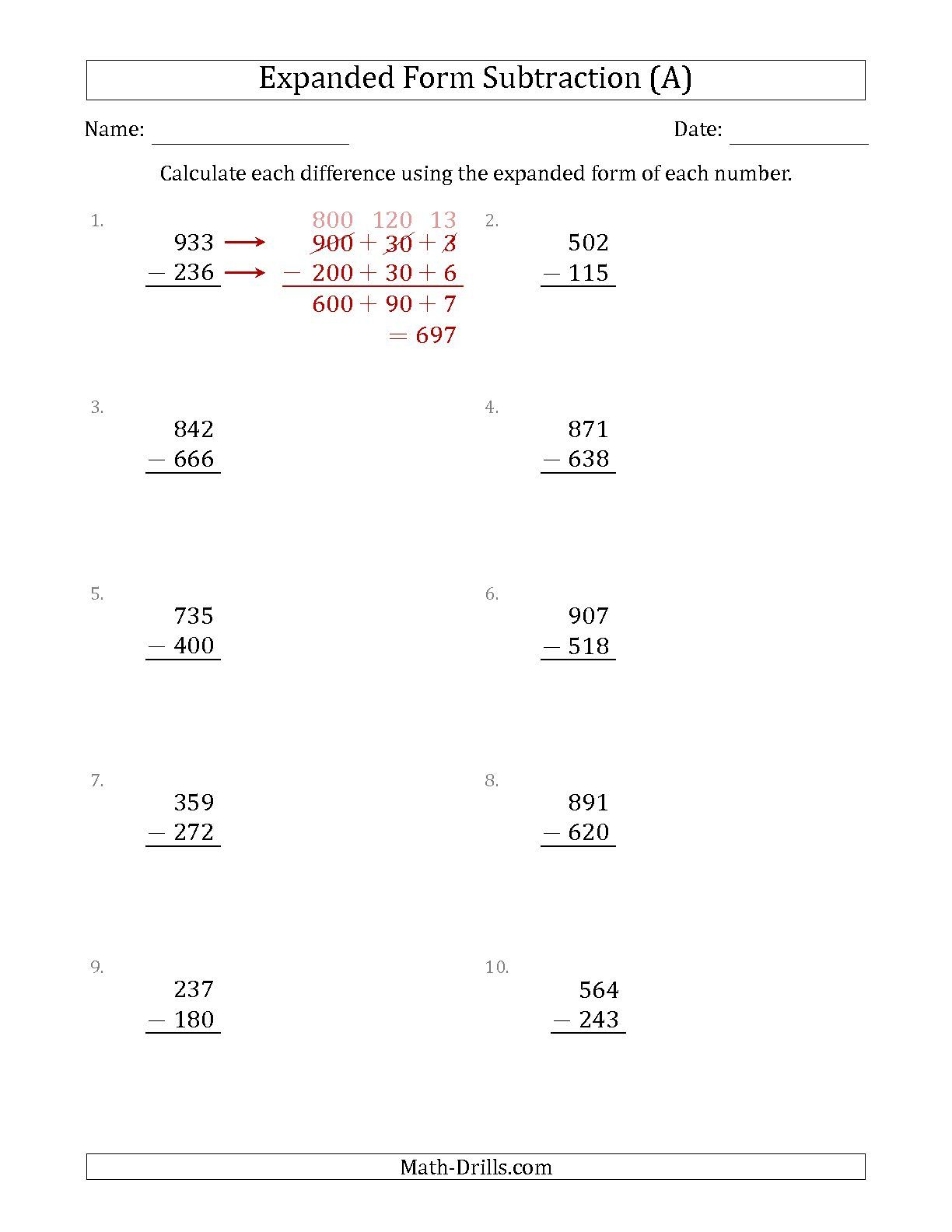 The 3-Digit Expanded Form Subtraction (A) math worksheet from the ...