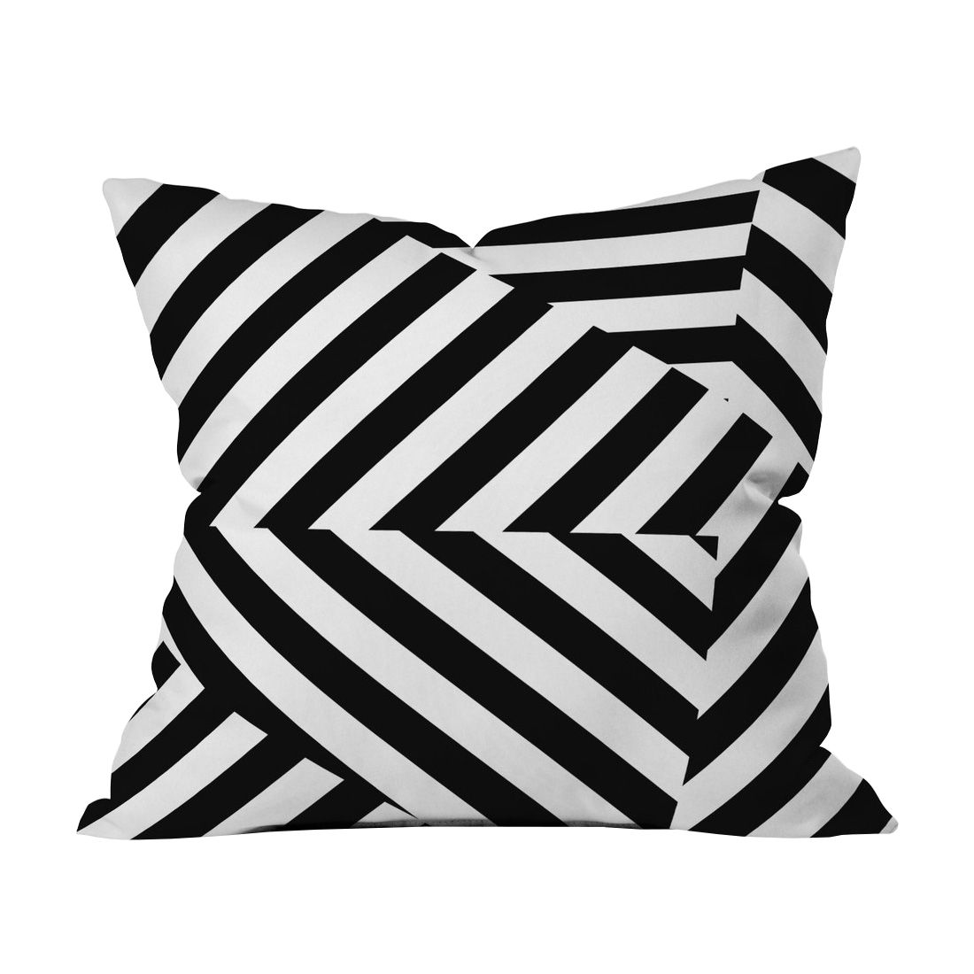 Striking black and white diagonals come together on one side in the modern cinch throw pillow
