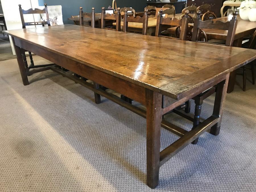 Rare Large 18th Century Oak Dining Table, Oak antique French farmhouse table, antique dining tables, antique farmhouse tables - Big Tables - 2.5m to 3m