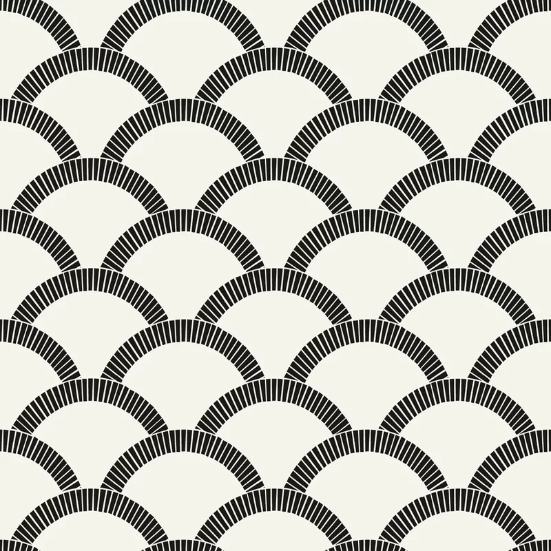 Camden Mosaic Scallop 33 L X 20 5 W Smooth Peel And Stick Wallpaper Roll Black And Cream Wallpaper Peelable Wallpaper Removable Wallpaper