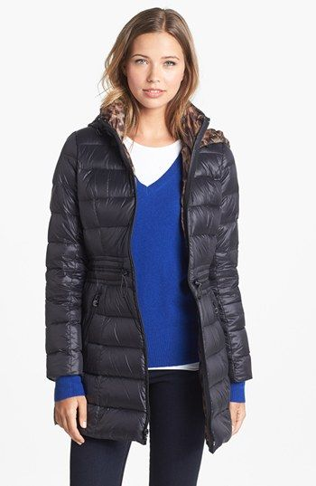Laundry By Shelli Segal Drawstring Waist Packable Down Coat