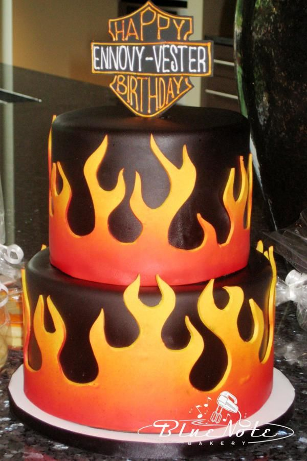 Harley Davidson Birthday Cake Flames Fire Blue Note Bakery