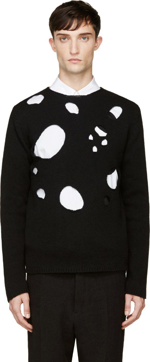 Comme de Garcons Homme Plus: Long sleeve knit sweater in black ...