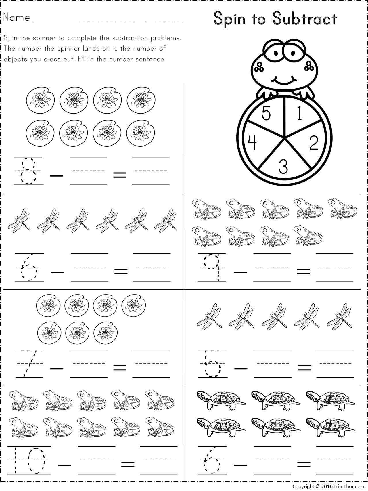 Kindergarten Math Subtraction From 10