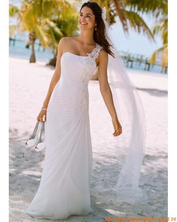 Liebste Weisse Brautkleider Aus Chiffon Fur Strandhochzeit