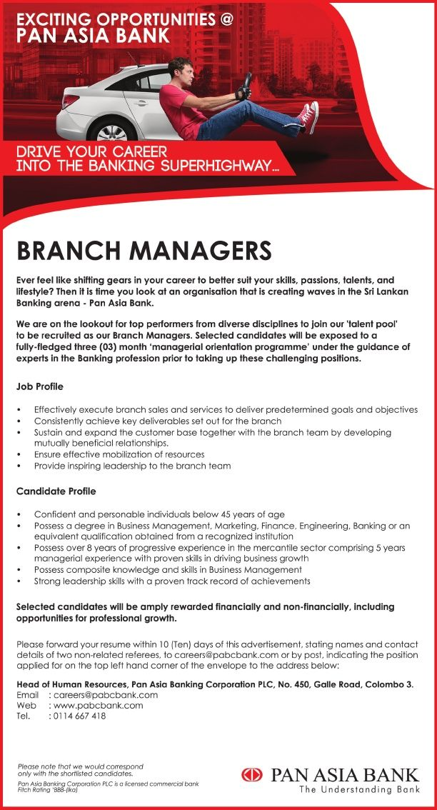 Branch Managers at PAN ASIA BANK Career First Banking jobs - branch manager job description