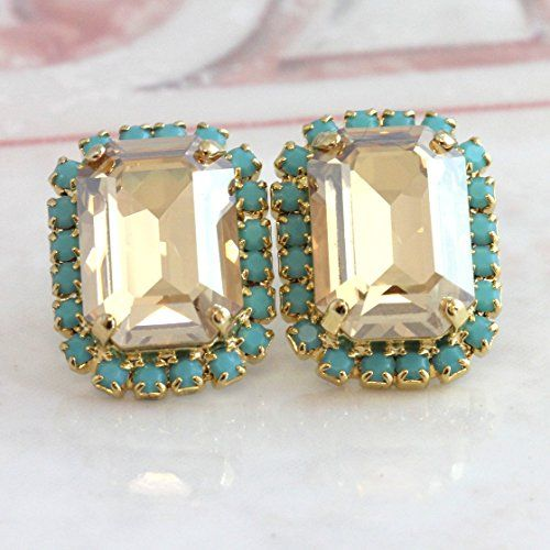 9198191fb Bridal Rectangle Champagne Turquoise Stud Earrings, Swaro... https://www
