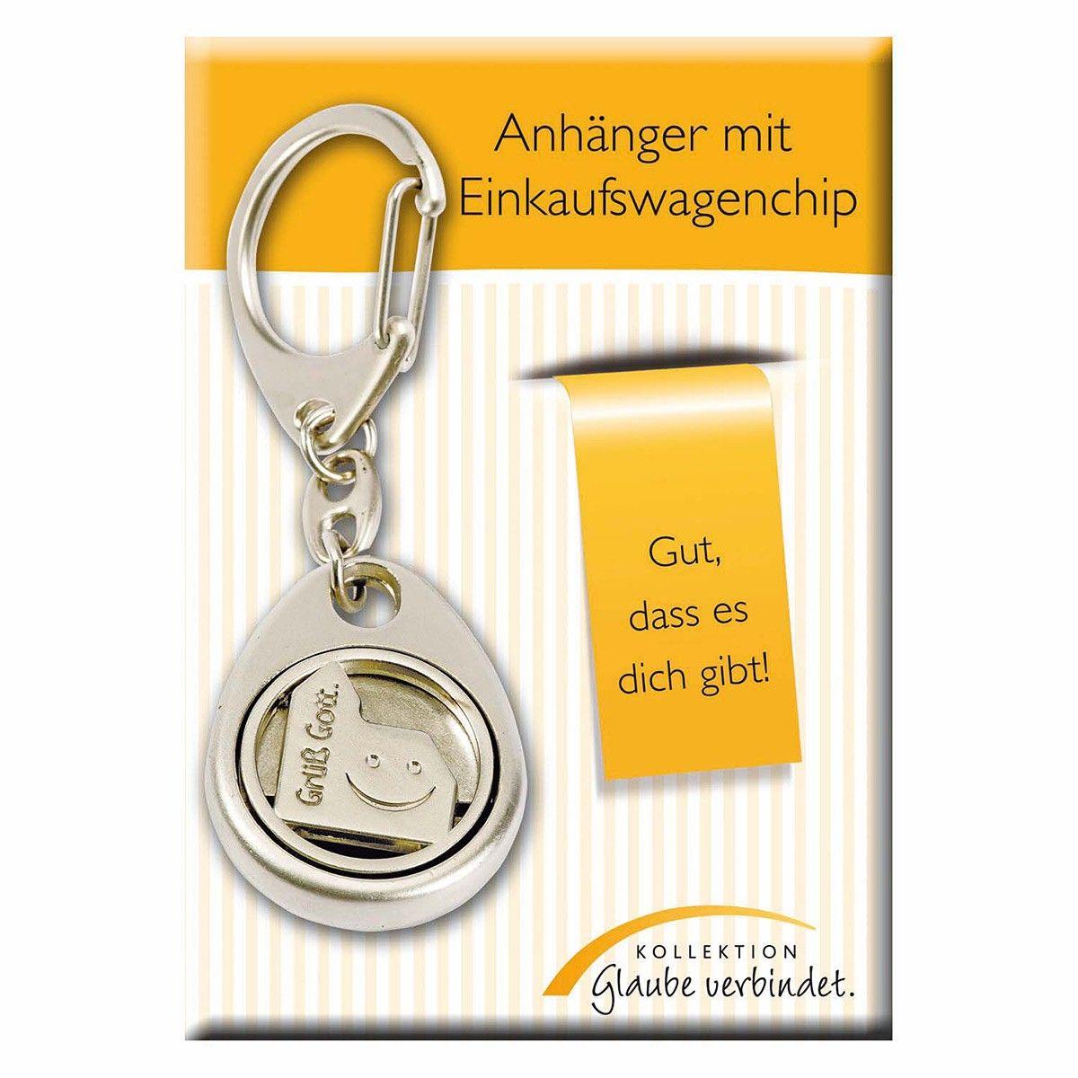 Schlüsselanhänger mit #Einkaufswagenchip der mit dem Motiv einer lachendenden #Kirche und der Aufschrift Grüß #Gott verziert ist ...