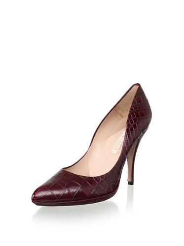 64dee5c2e1b Pura López Women s Croc-Embossed Pump (Dark Red)