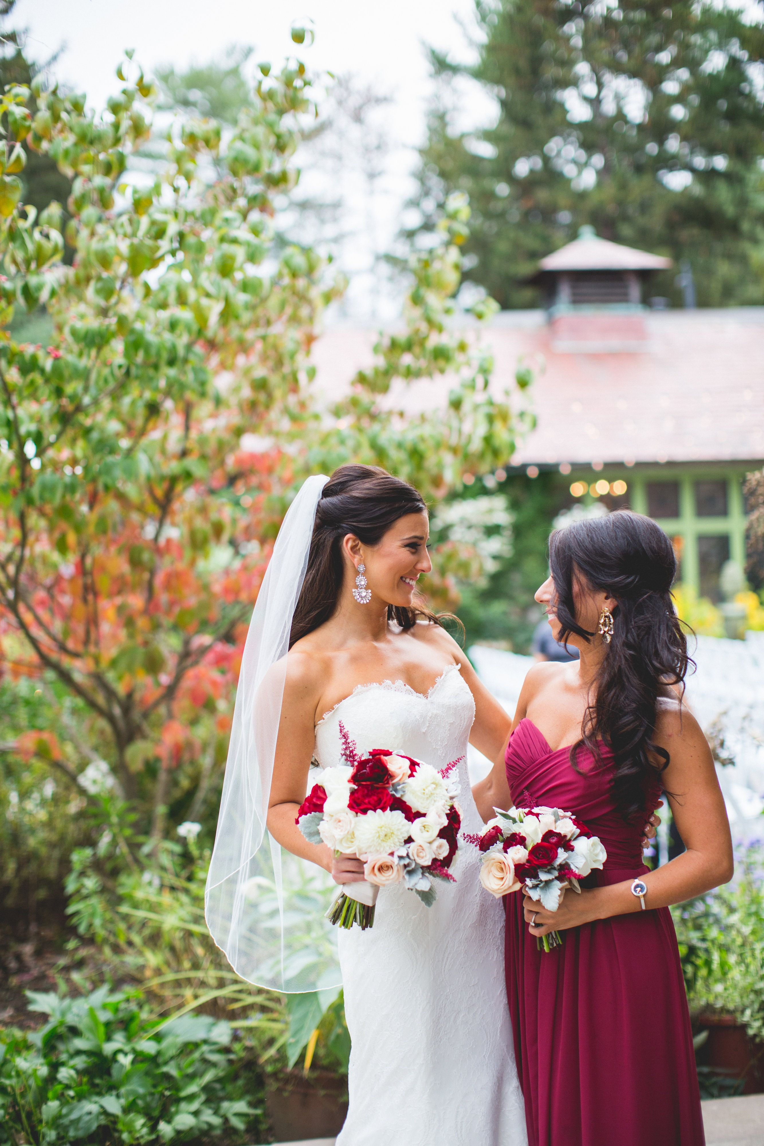 Marsala Burgundy Bridesmaid Dresses With Fl Bouquet At Willowdale Estate In Topsfield Ma Www