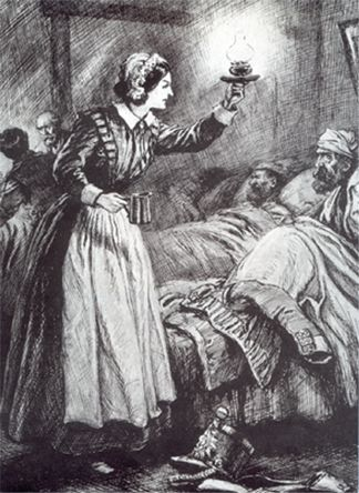"During the Crimean War, Florence Nightingale became famous as 'The Lady with the Lamp' as she made rounds of the wounded at night. One soldier wrote home that the men kissed her shadow on the wall when she passed. Conditions in the ""hospital"" in Scutari, Turkey, were appalling. No operating tables, no medical supplies, no furniture. The best wounded soldiers could hope for was to be laid on the floor wrapped in a blanket. Rats ran among the dying. Florence fought to improve conditions."