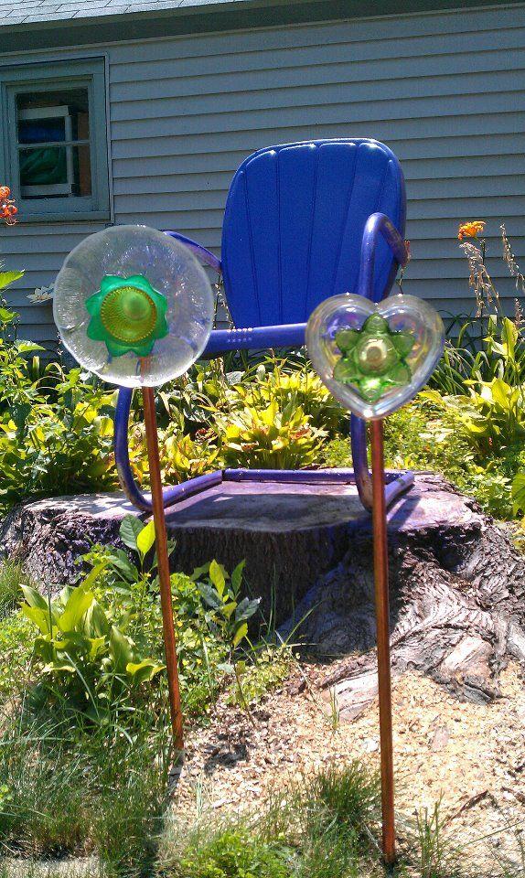 Recycled glass-yard ornaments   Yard ornaments, Yard art ...