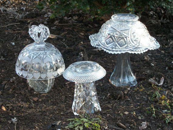 Glass mushroom garden art decor set of 3 by for Recycled glass garden ornaments