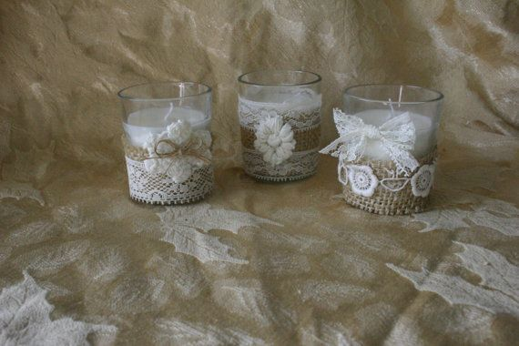 Vintage IVORY  lace wedding tea candles Victorian by Bannerbanquet, $25.00