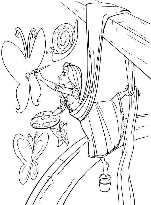 Disney Princess Tangled Rapunzel Colouring Sheets Free Printable For Girls Boys