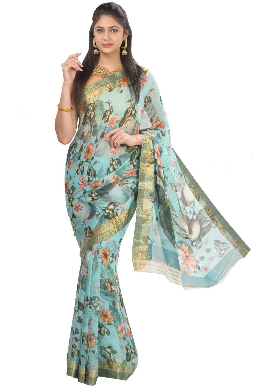 5ccfabfbfe #Kalanjali Exclusive #Chiffon#saree #Pastel blue shade pure chiffon saree  is enhanced with digital print in floral design all over.