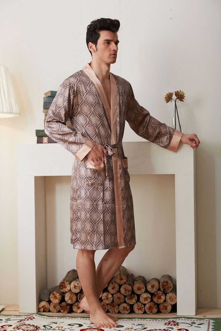 c2b580a6a6 Silk Blend Men Sleepwear Short Sleeve Sleep Shirts Robe Nighties Nightwear  Gifts