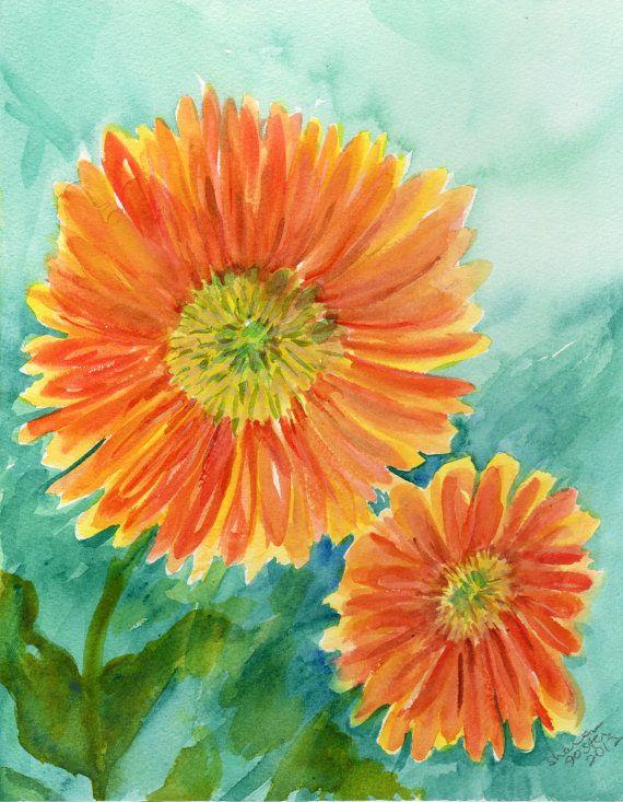 Gerber Daisy Watercolor Painting Original Flowers Painting