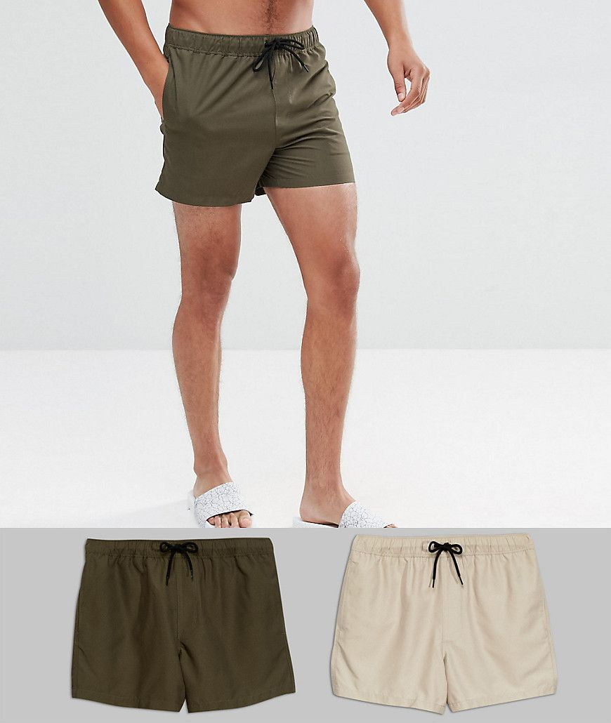 Finishline For Sale Swim Shorts 2 Pack In Khaki & Stone Mid Length SAVE - Stone/khaki Asos Cheap Sale Really With Mastercard Sale Online R5sd83p