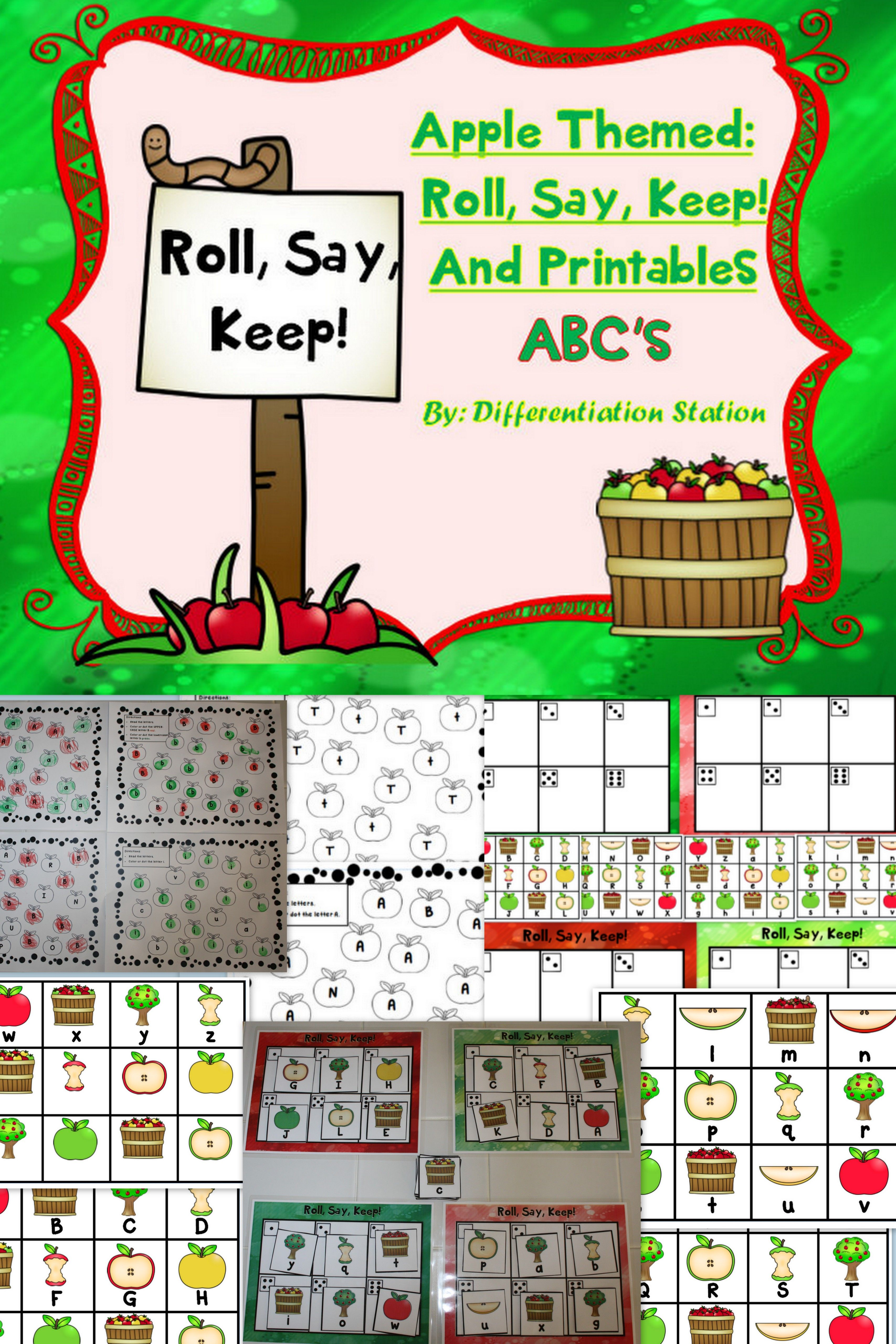 Apple Themed Roll Say Keep Alphabet Centers Games Printables