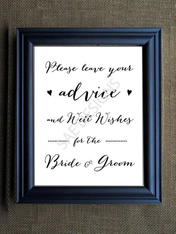 Printed Perfect On Cardstock Wedding Day Advice For The Bride And Groom Mr Mrs