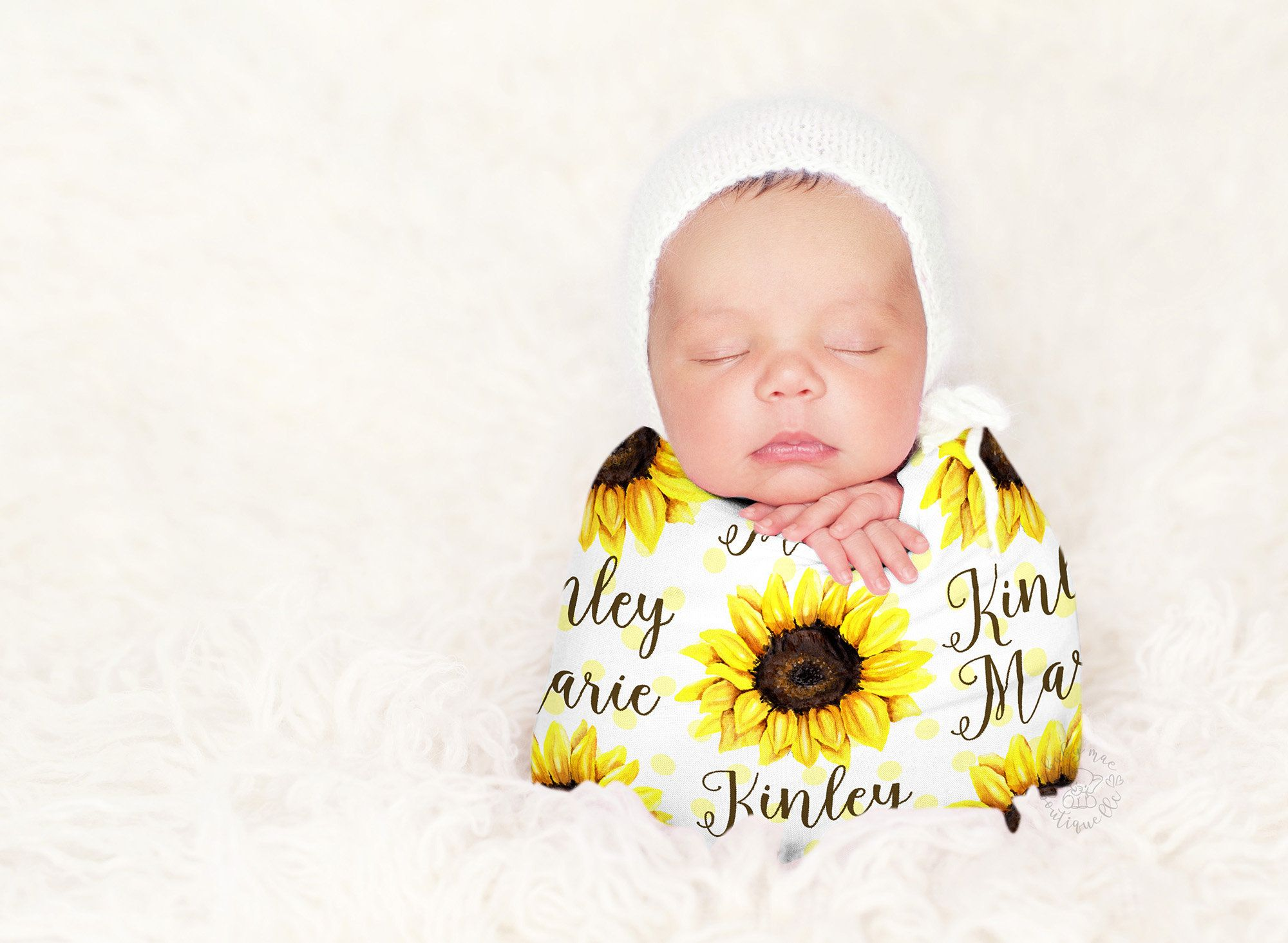 Photo of Sunflower Baby Girl Blanket / Personalized Newborn Swaddle / Baby Shower Gift / Monogram Hospital Blanket