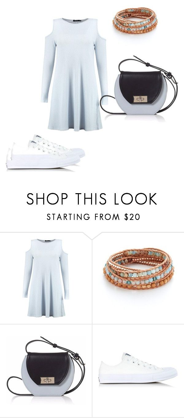 """Beachy blue"" by jmccauley-i ❤ liked on Polyvore featuring Boohoo, Chan Luu, Joanna Maxham and Converse"