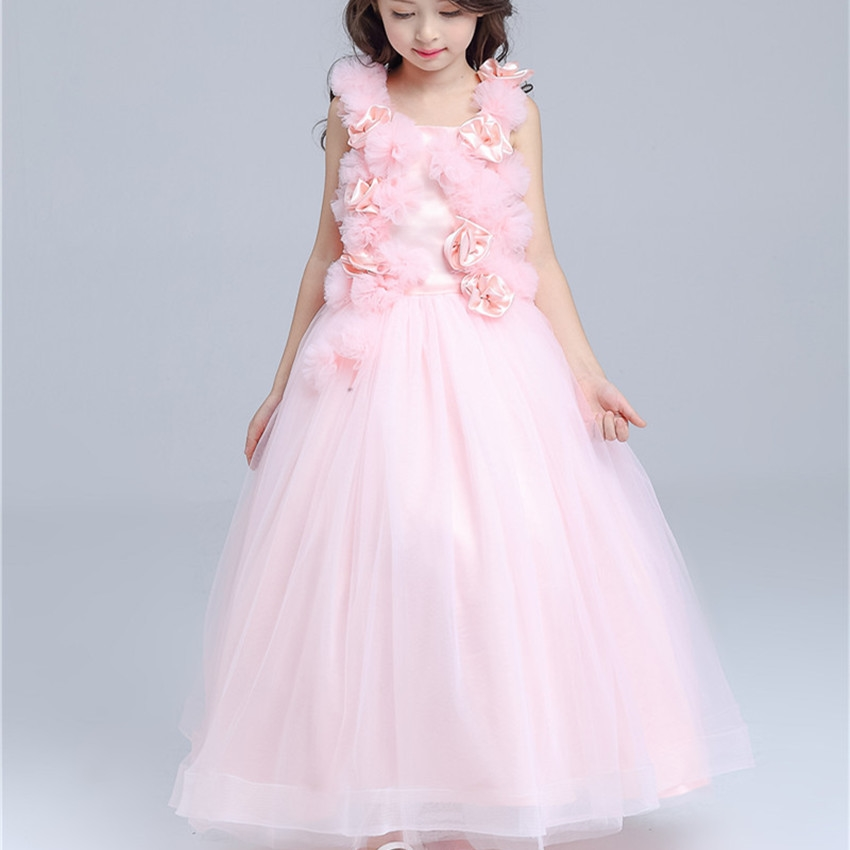 2859 Watch Here Pink Long Formal Girl Dress Christmas Kids