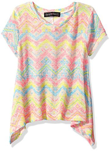 Derek Heart Big Girls Short Sleeve All Over Printed Top with V Neck Back Multi Combo 78 -- Learn more by visiting the image link.Note:It is affiliate link to Amazon.