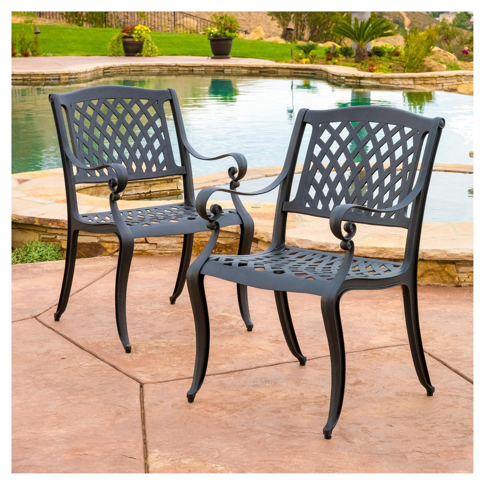 Patio Furniture Hallandale Fl: Hallandale Set Of 2 Cast Aluminum Patio Chairs