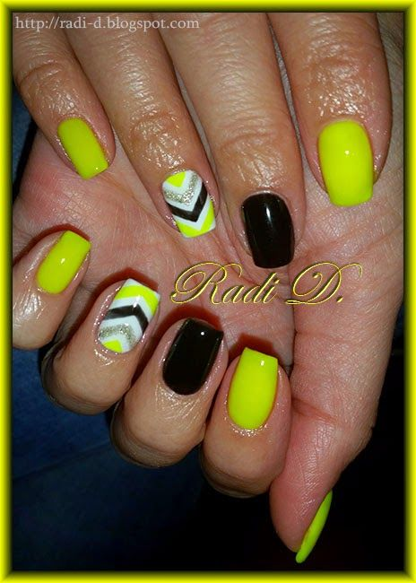 Neon Yellow Black Gel Polish With Images Bright Gel Nails
