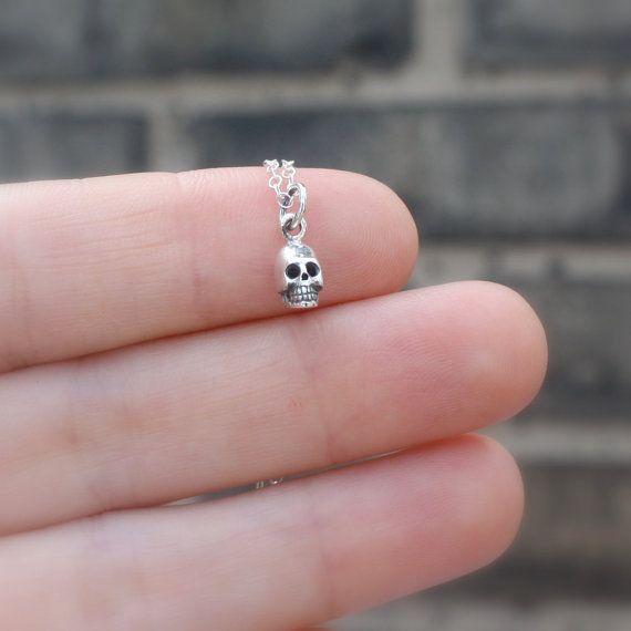 Tiny skull necklace - teeny tiny sterling silver skull charm . sterling silver chain . Halloween jewelry . goth