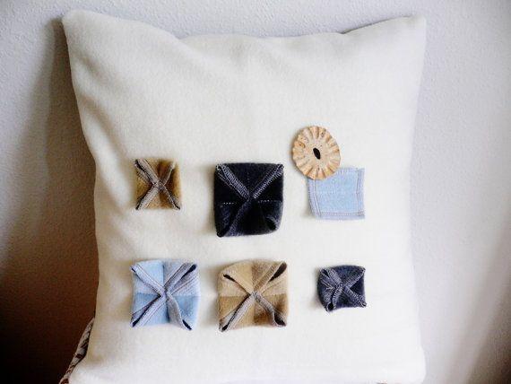 Modern applique shabby chic decorative throw pillow 3d