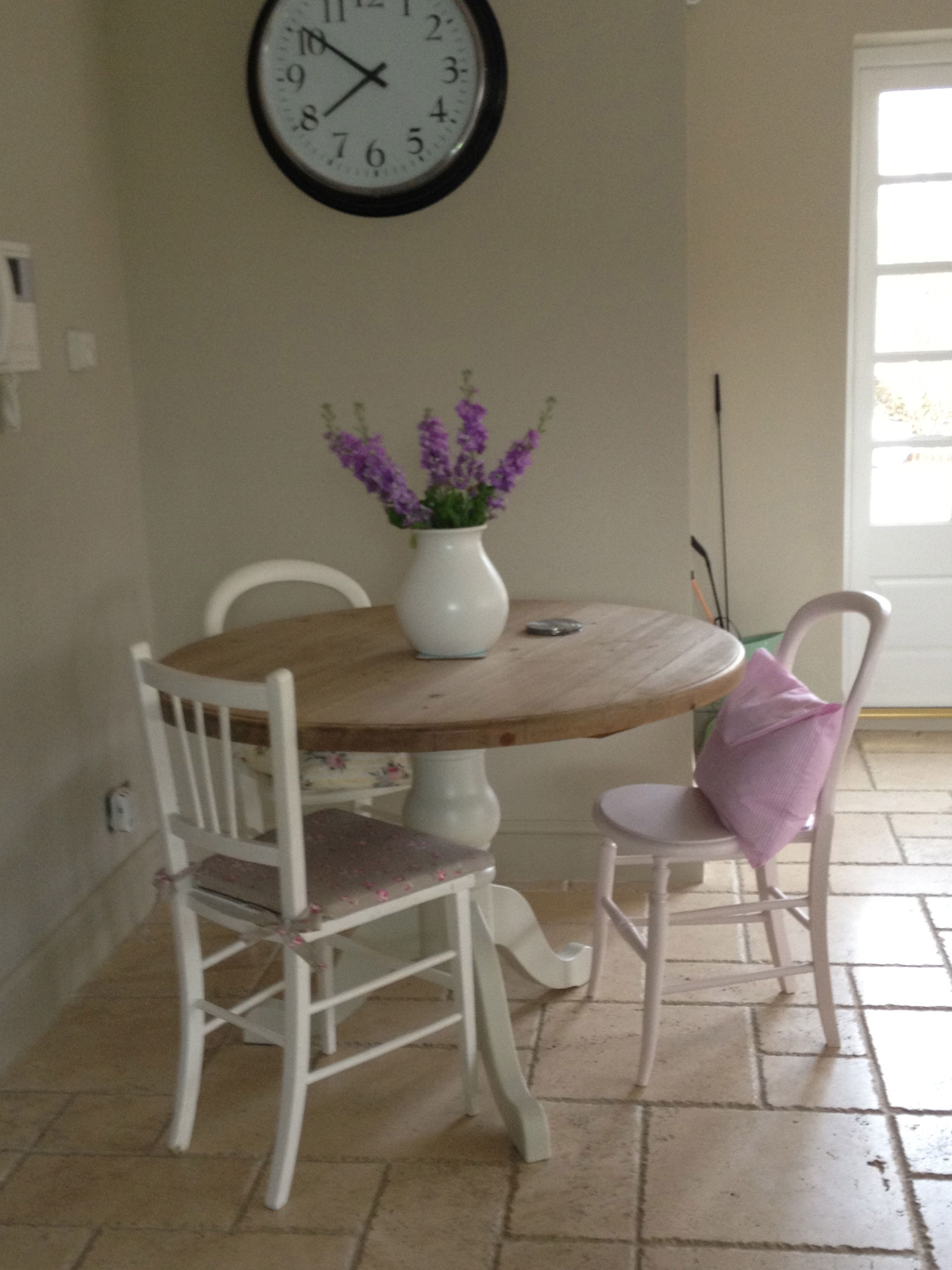 Round Table Painted In Slipper Satin By F B
